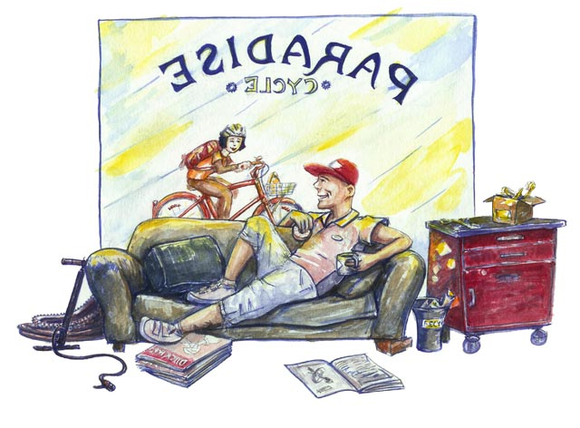 Dirt Rag paradise cycles illustration for Last Chance For Gas