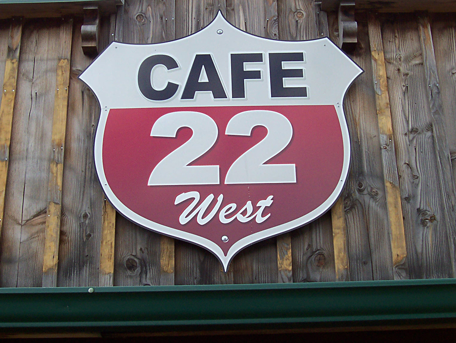 Cafe 22 West printed sign