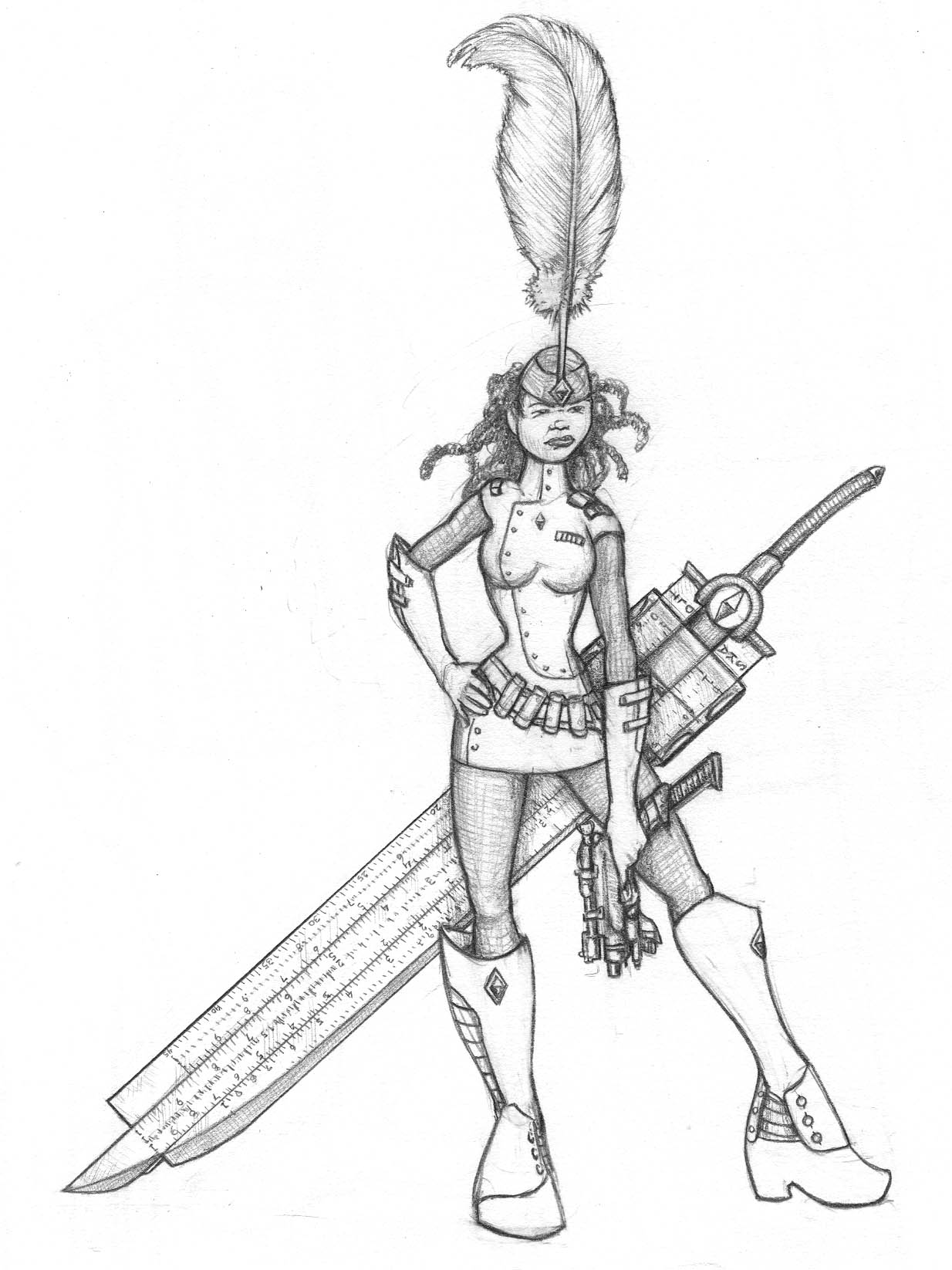 Maya pinup with a giant slide rule sword