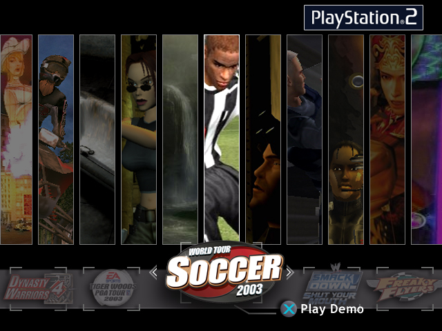 "Playstation2 kiosk and opm demo disc interface ""louvers"" design"