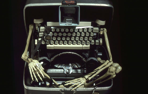 Typewriter Man sculpture - bones and a deconstructed typewriter