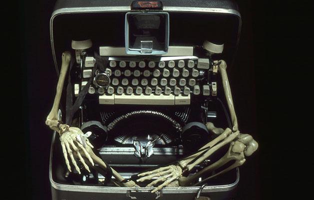 Typewriter Man sculpture - bones and a deconstructed typewriter