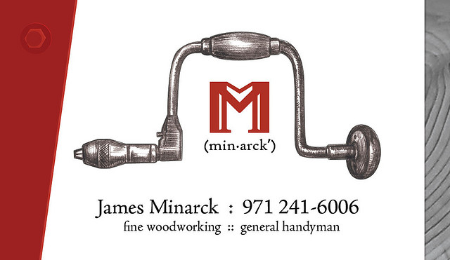 Logo and business card for James Minarck, woodworker