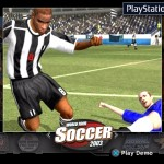"Playstation2 kiosk opm interface ""louvers"" design world tour soccer 2003 game demo selected"