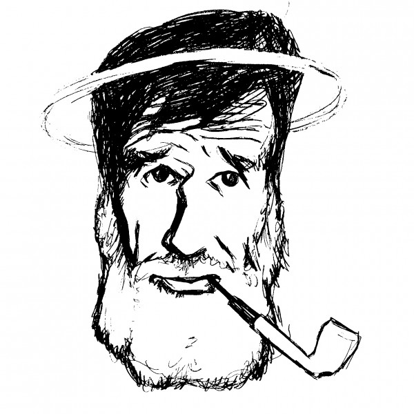 Edward Abbey drawing as a saint with a halo