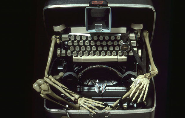 Typewriter Man - sculpture with skeleton and typewriter